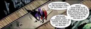 Panel from Detective Comics #963: Monster Town is the sickest part of Gotham